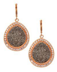 Marcia Moran - Metallic Rose Gold Druzy Earrings - Lyst
