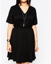 ASOS - Black Skater Dress With V Neck & Chunky Rib Detail - Lyst