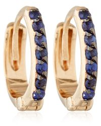 Kismet by Milka | Pink Rose Gold And Blue Sapphire Mini Hoops | Lyst