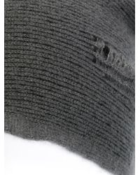 Label Under Construction - Gray Distressed Slouchy Beanie - Lyst