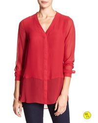 Banana Republic | Red Factory Hi-lo Blouse | Lyst