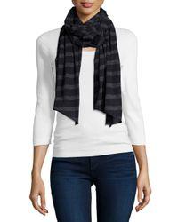 Neiman Marcus - Blue Striped Cashmere-blend Scarf - Lyst
