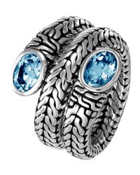 John Hardy | Metallic Batu Swiss Blue Topaz Coil Ring Size 8 | Lyst