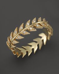 Mizuki | 14k Yellow Gold Feather Eternity Band With Diamonds | Lyst