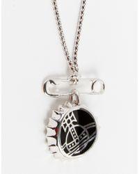 Vivienne Westwood - Metallic Bottle Cap Safety Pin Necklace for Men - Lyst