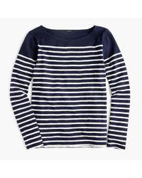 J.Crew - Blue Placed-stripe T-shirt - Lyst