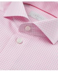 Eton of Sweden | Pink Slim Fit Micro Gingham Shirt for Men | Lyst