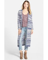 Billabong - Blue 'hide And Sea' Long Cardigan - Lyst