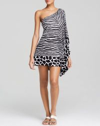 MICHAEL Michael Kors | Black Zebra Chevron One Shoulder Swim Cover Up | Lyst