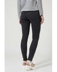TOPSHOP - Black Moto Zip Ankle Jamie Jeans - Lyst