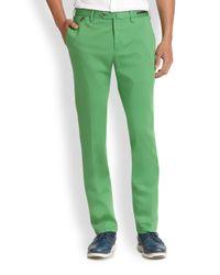 PT01 - Green Flat-front Linen & Cotton Trousers for Men - Lyst