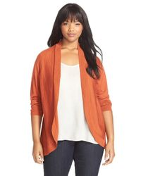 Eileen Fisher - Orange Merino Jersey Oval Cardigan - Lyst