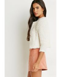 Forever 21 | Natural Fuzzy Knit Jacket | Lyst