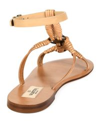 Valentino - Natural Woven Leather Sandals - Lyst