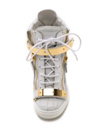 Giuseppe Zanotti - Croc Embossed Wedge Sneakers - White - Lyst