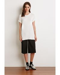 Forever 21 | White Heathered Cuff-sleeve Tee | Lyst