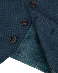 Ted Baker | Blue Edewai Mini Design Wool Waistcoat for Men | Lyst
