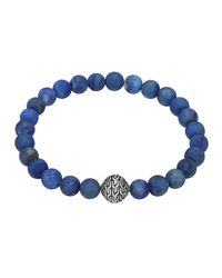 John Hardy | Blue Matte Lapis Beaded Bracelet With Magnetic Clasp | Lyst