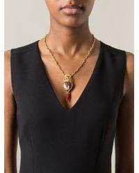 Dolce & Gabbana - Metallic Crown Rose Chili Pendant Necklace - Lyst