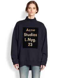 Acne Studios Blue Oversized Metallic Logo Sweatshirt