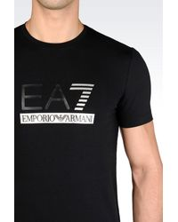 EA7   Black Short Sleeved T-shirt for Men   Lyst
