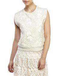 Alice + Olivia | Natural Beryl Sleeveless Embellished Sweatshirt | Lyst