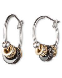 Nine West | Metallic Tri Tone Hoop Earrings | Lyst