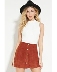 Forever 21 | Brown Buttoned Faux Suede Skirt | Lyst