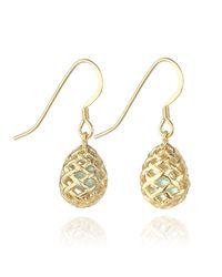 Kinnari | Metallic Gold Small Egg Earrings With Blue Topaz | Lyst