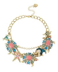 Betsey Johnson | Multicolor Turtle Pendant Charm Frontal Necklace | Lyst
