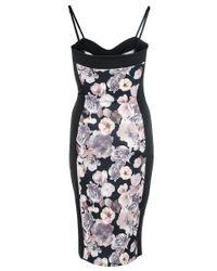 Quiz - Black Floral Print Midi Dress - Lyst