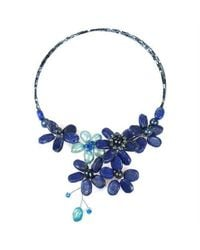 Aeravida | Blue Floral Lace Lapis And Pearl Crystal Wrap Necklace | Lyst