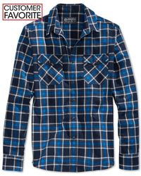American Rag | Blue Cleaves Plaid Shirt for Men | Lyst