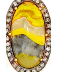 Andrea Fohrman - Yellow One Of A Kind Manganese Sulfide With Ice Diamond Trim Ring - Lyst