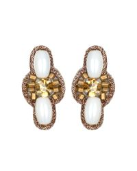 Suzanna Dai | Metallic Marrakech Stud Earrings, Ivory/gold | Lyst