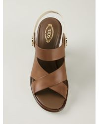 Tod's - Brown Panelled Sole Sandals - Lyst