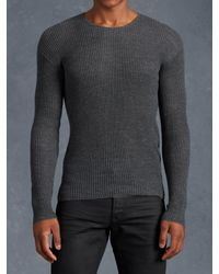 John Varvatos | Gray Waffle Stitch Crewneck for Men | Lyst