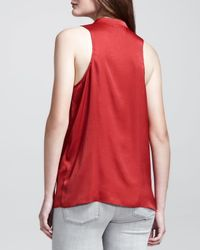 Helmut - Red Buttonfront Racerback Top Large1012 - Lyst