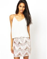 TFNC London - White Cami Dress with Pattern Sequin Skirt - Lyst