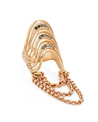 Lisa E Moss - Metallic Curb Chain Swags Ring Gold - Lyst