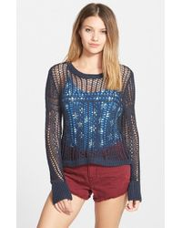 Billabong | Blue 'love For Life' Open Knit Sweater | Lyst