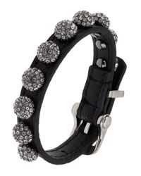 ABS By Allen Schwartz | Hematite-tone Black Leather Fireball Buckle Bracelet | Lyst