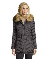 Laundry by Shelli Segal | Gray Slate Grey Chevron Quilted Faux Fur Hooded Down Jacket | Lyst