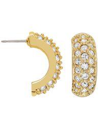 Swarovski | Metallic Gold-tone Pave Crystal Huggie Earrings | Lyst