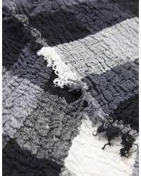 Jules B - Black Crinkle Check Cotton Scarf - Lyst