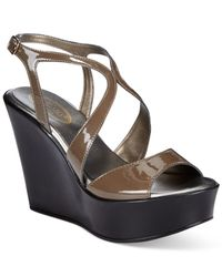 Callisto | Brown Elaine Slingback Platform Wedge Sandals | Lyst