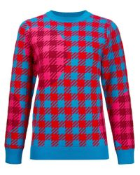 House of Holland - Blue Plaid Print Sweater - Lyst