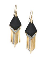 Alexis Bittar | Metallic Sport Deco Lucite & Crystal Spear Fringe Drop Earrings/black | Lyst