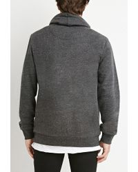 Forever 21 - Gray Heathered Funnel Neck Sweatshirt for Men - Lyst