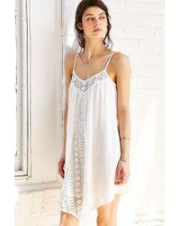 Band Of Gypsies - White Gauzy Crochet-inset Frock Dress - Lyst